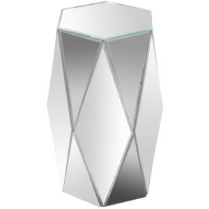 "19.8"" Hexagonal Mirrored Accent Table"